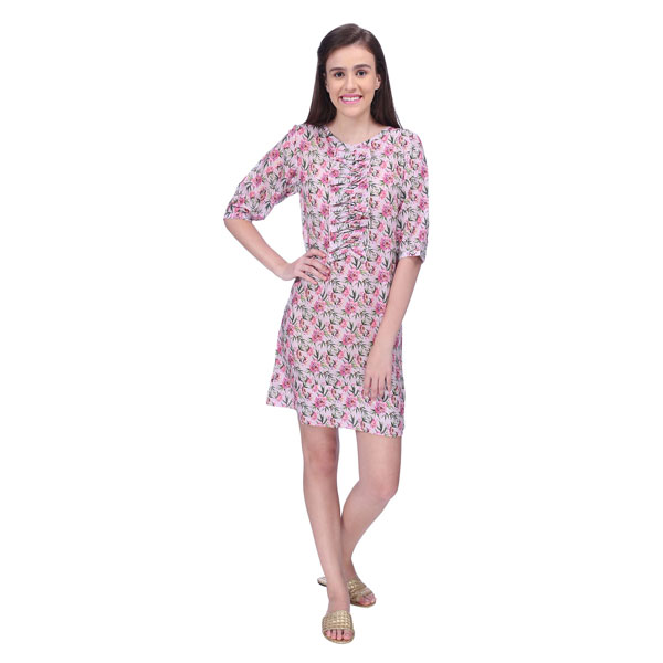 PINK BLOOM FLORAL RUFFLE FRONT COTTON SILK DRESS