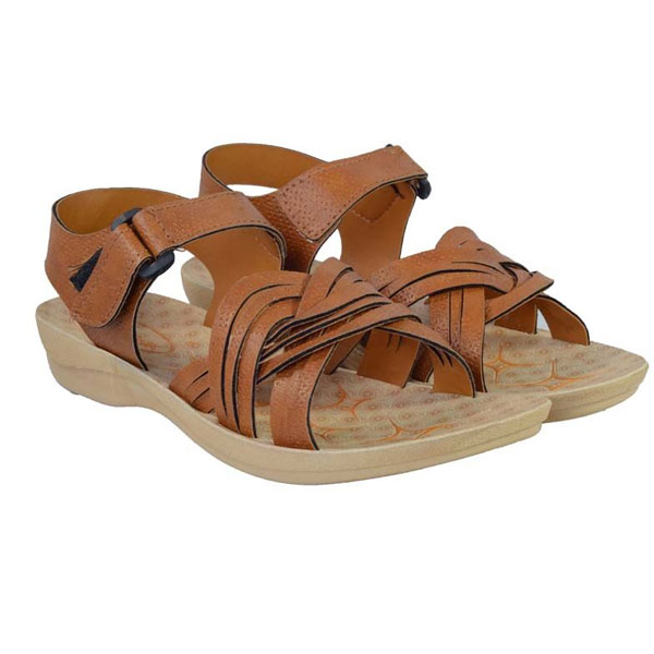 POKROK Women Pu Stylish Sandal (zoos7) Brown, Ten