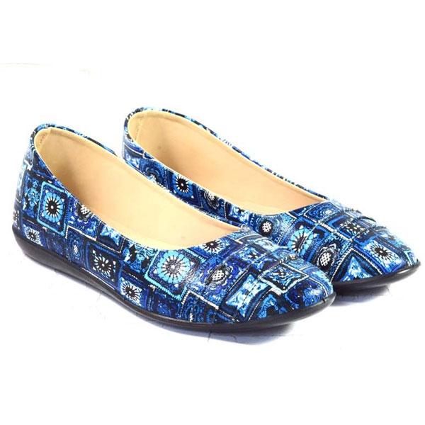 POKROK Women Pu Stylish Belly Shoes (number5) Blue, Tan