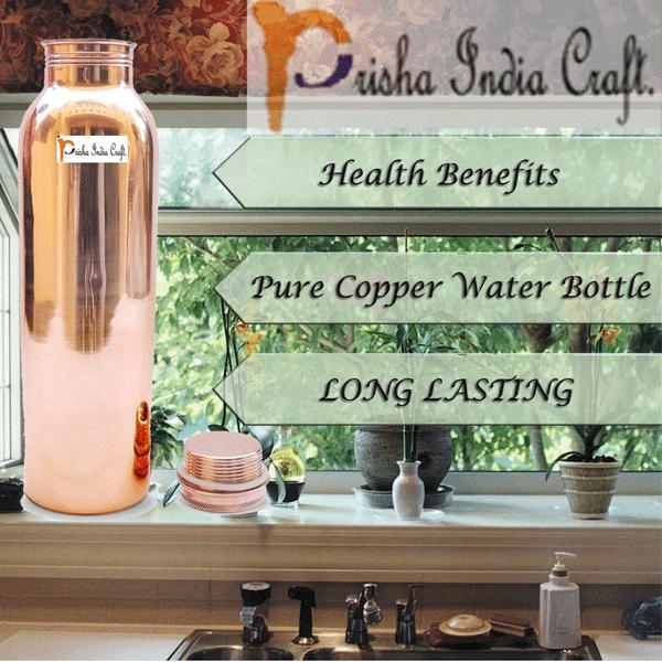 Prisha India Craft Traveller's Pure Copper Water Bottle for Ayurveda Health Benefits - Designer Bottle/ Joint Free, Leak Proof/ Capacity 900 ML