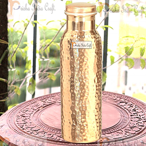 Prisha India Craft Hammered Copper Water Bottle, Joint Free, Best Quality Water Bottle,Capacity 1000 ML
