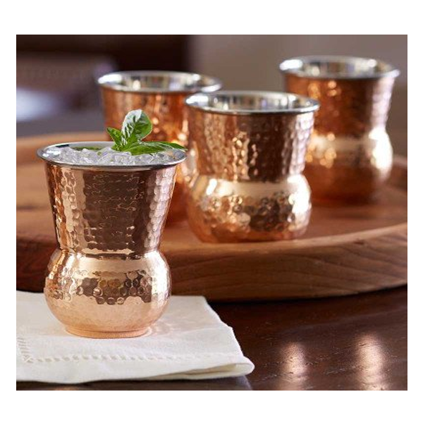 Prisha India Craft Glass003-1 Copper Muglai Matka Glass Hammered Style Drinkware Tumbler / Capacity 270 ML