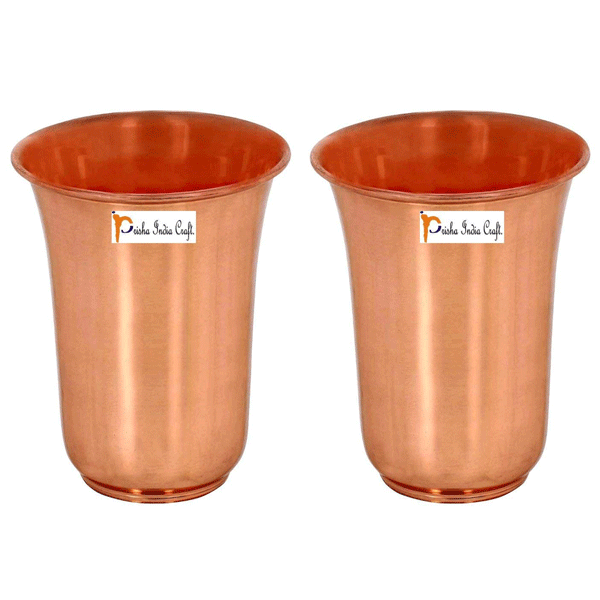 Set Of 2 - Prisha India Craft Glass103-2 Handmade Water Glass Copper Tumbler/ Capacity 350 ML