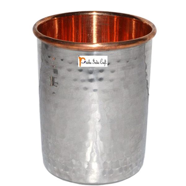 Prisha India Craft Glass024-1 Handmade Water Glass Copper Tumbler/ Capacity 250 ML