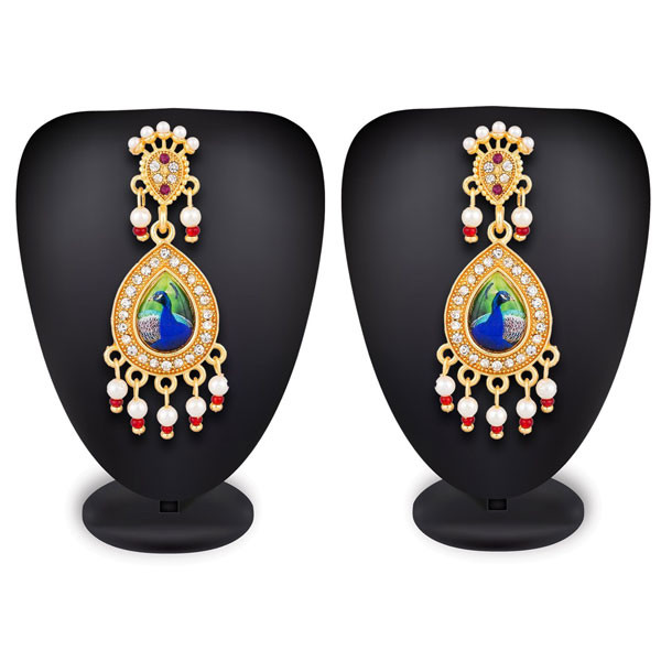 Profuzon Marketing American Diamond And Pearl With Queen And Peacock Print Earring