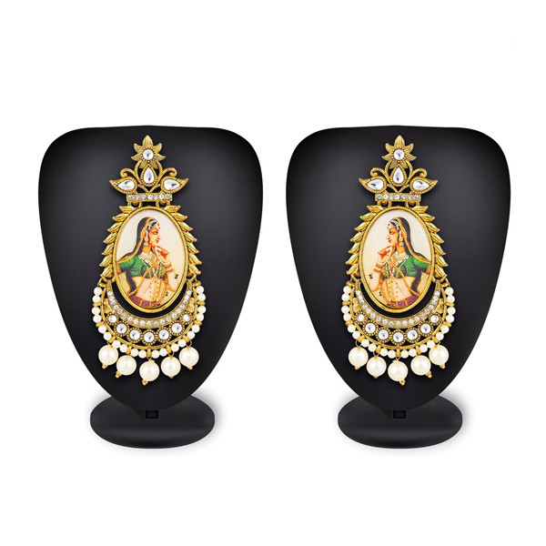 Profuzon Marketing American Diamond and Pearl with Queen Print Earring(Multicolor)
