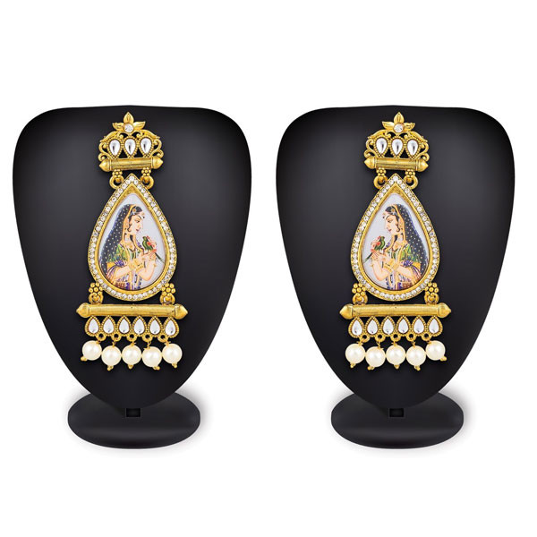 Profuzon Marketing American Diamond And Pearl With Queen Print Alloy Earring Multicolor