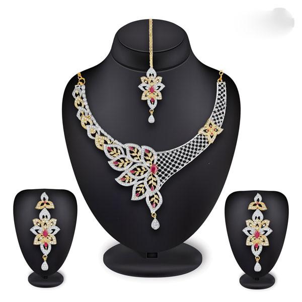 Profuzon Marketing American Diamond Alloy Women's Necklace Set (Multicolor)