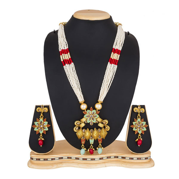 Profuzon Marketing American Diamond, Stone and Pearl Women's Necklace Set (Multicolor)