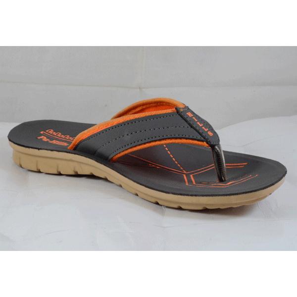 PU Hills 7 To 10 Size v - shape Men Slipper Grey Orange