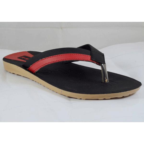 PU Hills 7 To 10 Size v - shape Slipper Red Black
