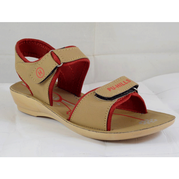 PU Hills 5 To 8 Size Pink PU Heel Sandal Tan Red