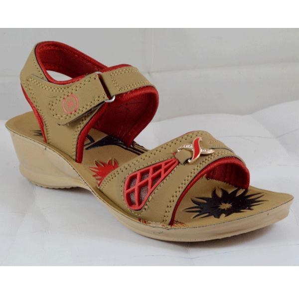 PU Hills Size 5 To 8 Women Sandal Tan Red