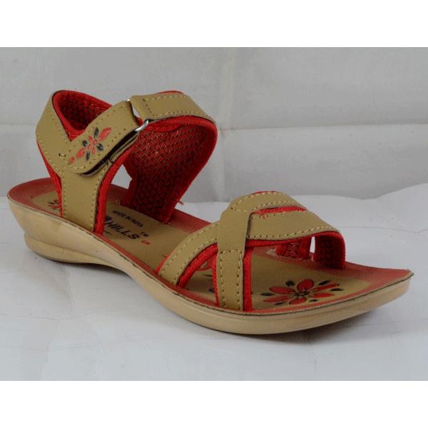PU Hills 5 To 8 Women Sandal Tan Red