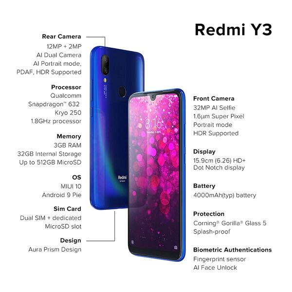 Redmi Y3 ( 3GB RAM/ 32GB Storage),Mix Color