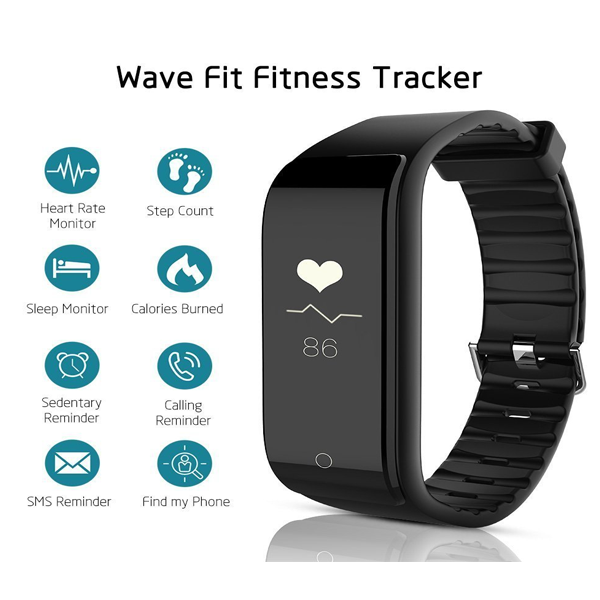 Riversong Wave Fit Fitness Tracker With Heart Rate Monitor for Android/iOS Devices (Black)
