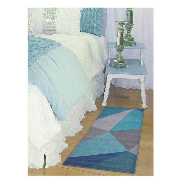 Rugsmith (RS000034) Blue Multi Color Premium Qualty ABSTRACT Pattern Polyamide Nylon FACET RUG Runner