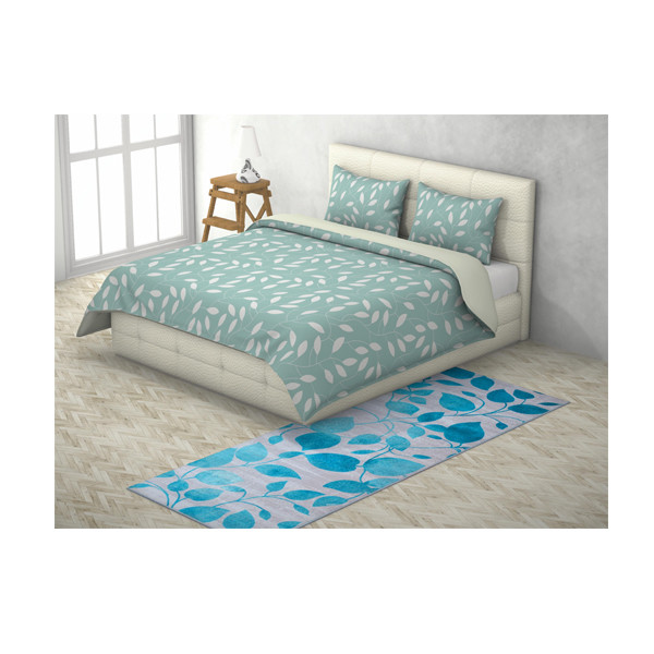 Rugsmith(RS000040) RUGS & CARPETS Vibrant Turquoise Color Premium Qualty FLORAL Pattern Polyamide Nylon IVY RUG Runner