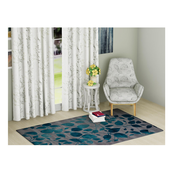 Rugsmith (RS000042) Vibrant Turquoise Color Premium Qualty FLORAL Pattern Polyamide Nylon IVY RUG Area Rug(Carpet Size 4X6)
