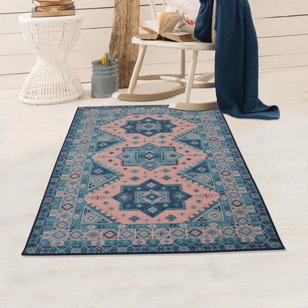 Rugsmith (RS000068) Teal & Rosette Color Premium Qualty TRADITIONAL Pattern Polyamide Nylon ROYAL RUG Area Rug