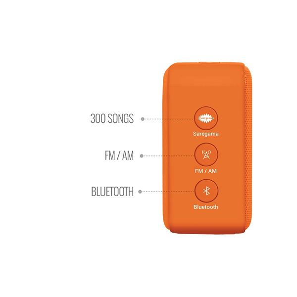 Saregama Carvaan Mini Bhakti Bluetooth Speaker/300 Devotional Songs/ FM-AM Radio/Bluetooth/USB (Orange)