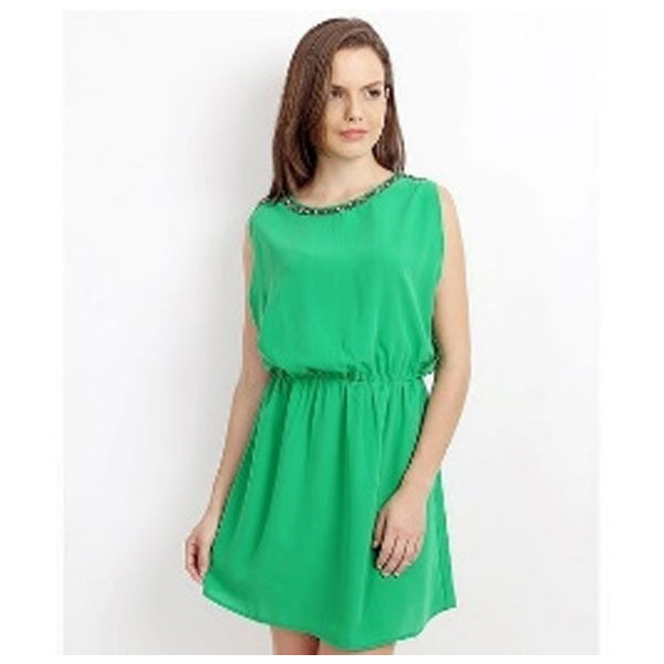 Silver Ladies Designer Mini Dress Polyester (Green)