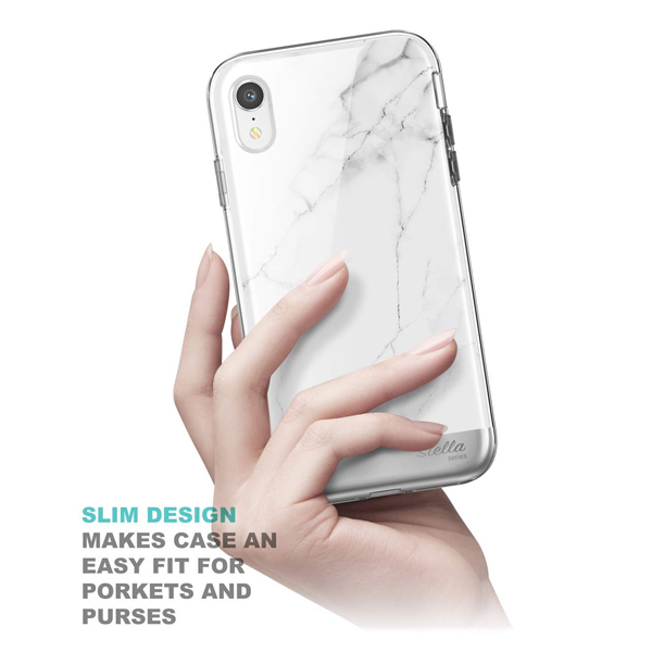 Supcase (B07HC429GF) Unicorn Beetle Stella Series Case Designed for iPhone XR 6.1 with Built-in Screen Protect Premium Hybrid Shinning Glitter Bling Protective(Marble)