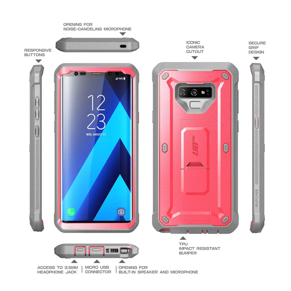 Supcase (B07G7Z7SSX) Unicorn Beetle Pro Series Full-Body Rugged Holster Case Protector for Galaxy Note 9 (Pink)