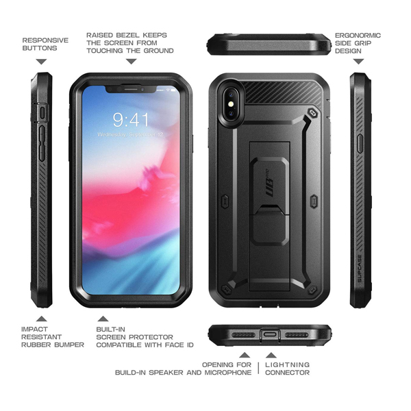 Supcase (B07FPCL1WT) (Unicorn Beetle Pro Series) Case Designed for iPhone XS Max , Full-Body Rugged Holster Case with Built-In Screen Protector kickstand for iPhone XS Max 6.5 Inch 2018 Release (Black)
