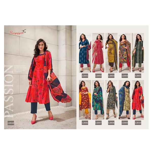 SURYAJYOTI Dress Material Top Rayon Print Bottom Cotton Duppta Chiffon (Multicolour)