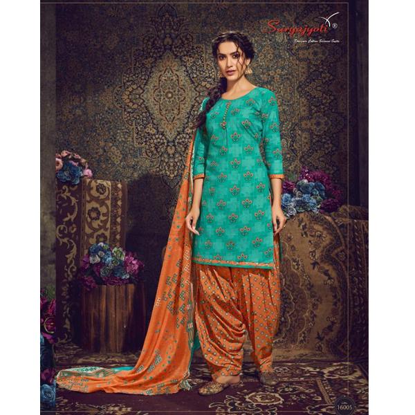 Suryajyoti Dress Material Top & Bottom-All Cotton Patiala Kudi Dress Material (Multicolor)
