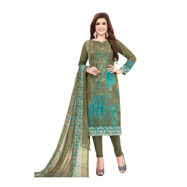 TENDISHA (2752) Synthetic Printed Unstitched Dress Material (Multi)