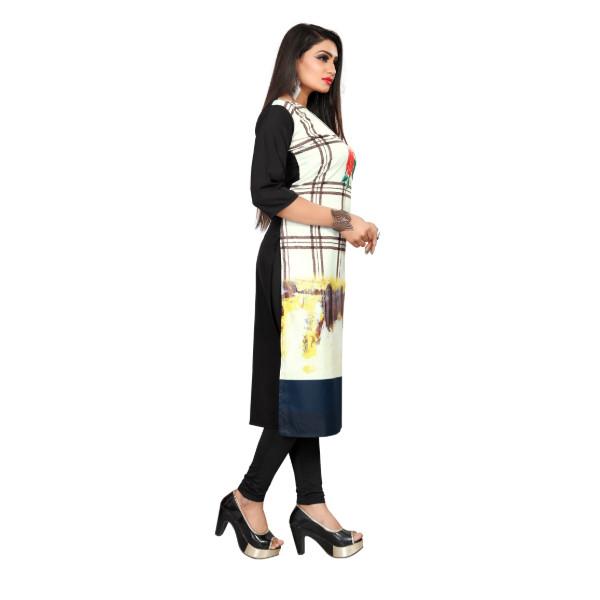 Textile Fab TF-17 Women's Crepe Digital Printed Straight Cut Kurti