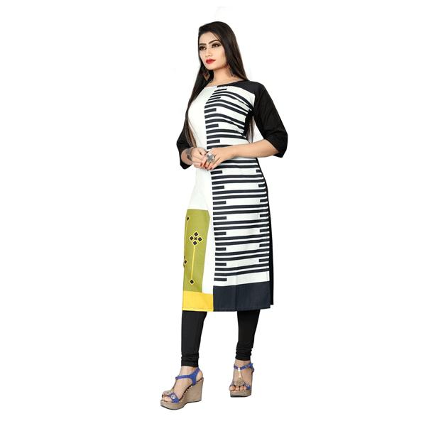 Textile Fab TF-21 Women's Crepe Digital Printed Straight Cut Kurti