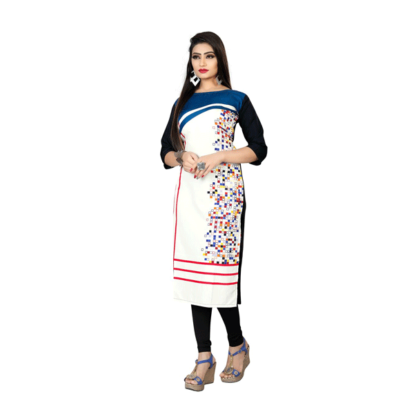 Textile Fab TF-25 Women's Crepe Digital Printed Straight Cut Kurti