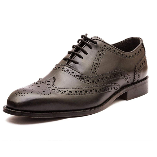 The Leather Box Calf Leather The Perfectionist Black Wing Tip Full Brogue Mens Shoes