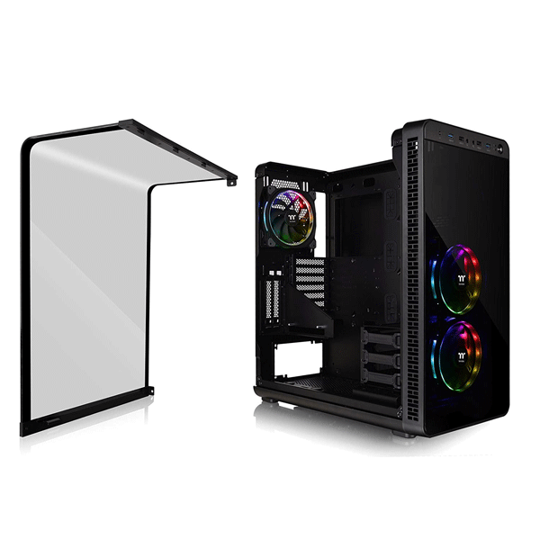 Thermaltake (CA-1J7-00M1WN-01) View 37 RGB E-ATX Mid Tower Computer Cases With 3 Ring Plus RGB Fans (Black)
