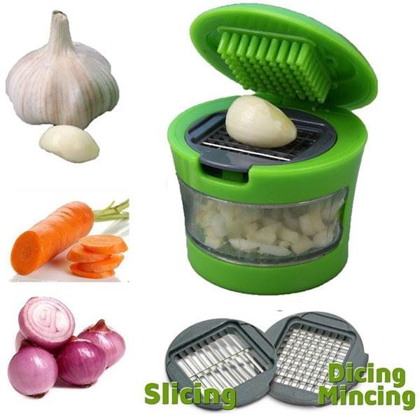 Vaibhavi Plastic Garlic Press Mini Garlic Cutter, Crusher And Chopper, Green