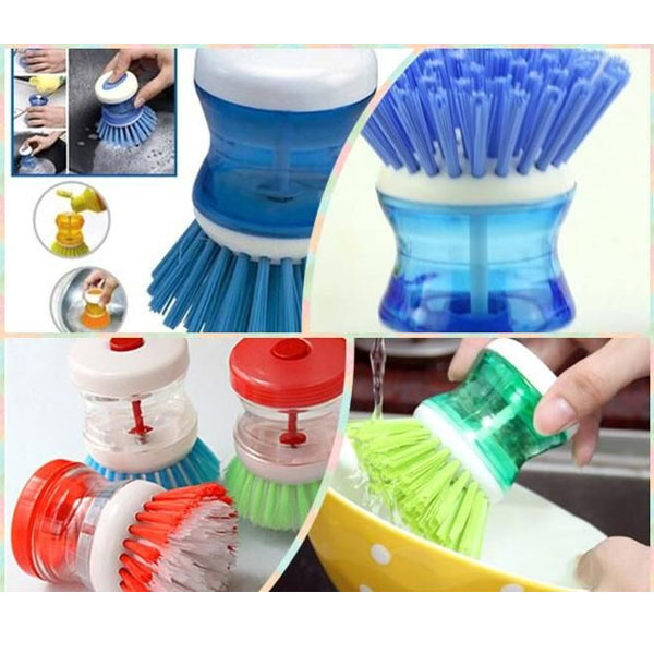 Vaibhavi Plastic Dish Brush with Washing Up Liquid Soap Dispenser Scouring Cleaning Pad Brush Clean dish wash