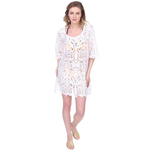White Lace Cotton Swim Coverup Resort Dress