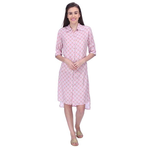 Women Geometric Print Brown and Pink Crepe Shirt Dress