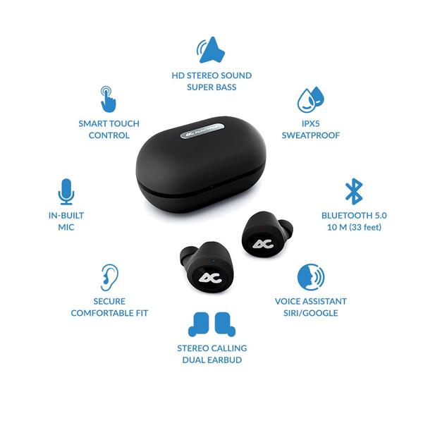 Auxtron AirBolt 505 True Wireless (TWS) Earbuds - Full Black