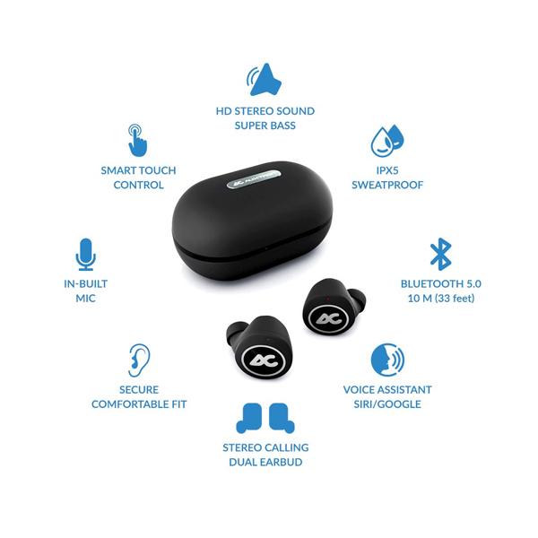Auxtron AirBolt 505 True Wireless (TWS) Earbuds - Silver + Black