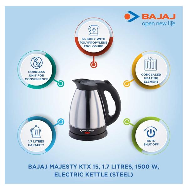 Bajaj Majesty KTX15 1.7L SS Kettle (Black and Silver)