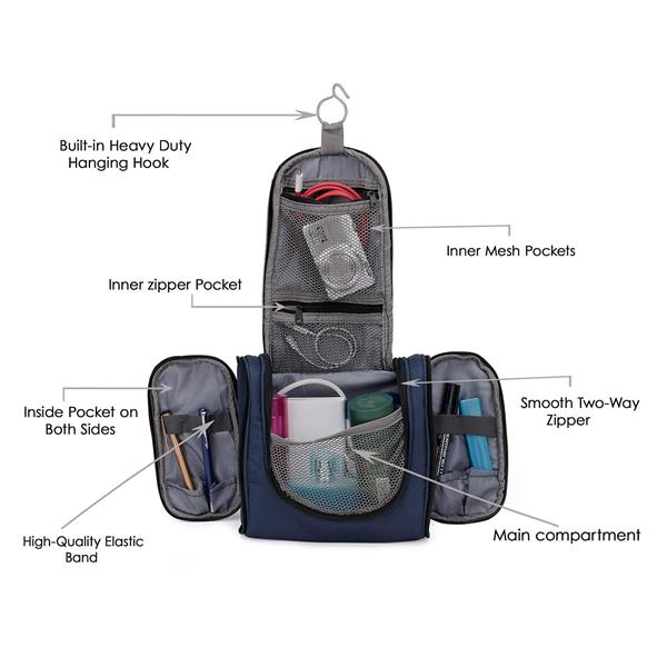 Chris & Kate ( CKB_208LL) Polyester Toiletry Bags (Blue_)