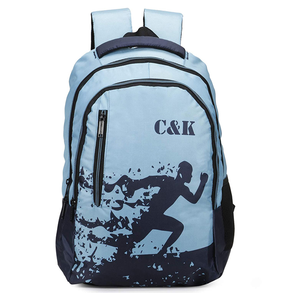 Chris & Kate ( CKB_329LL) Polyester 32 LTR Spacious School Bag ( Navy Blue and Teal Blue)