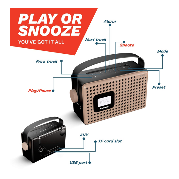 Corseca (DMS3013) Black Boy 3 Wireless Bluetooth Speaker with FM Radio Customizable Alarm AUX and USB Port (Copper and Black)