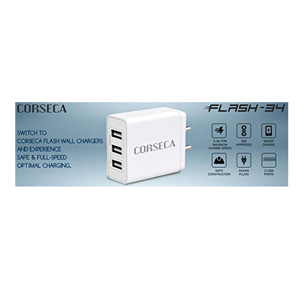 CORSECA (MWC3430) 3 USB Port Fast Charging with Auto Detect Technology USB Wall Charger Adapter for All Android & iOS Devices ( White)