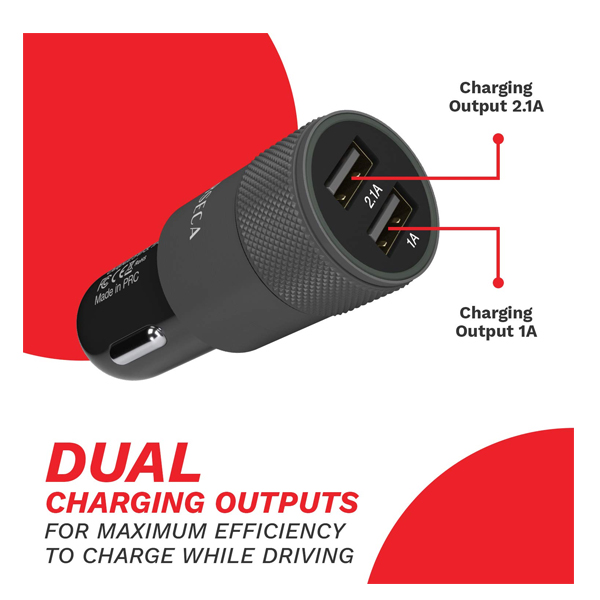 CORSECA (DMCC322) Dual USB Port 3.1A Fast Car Charger with Smart IC for Protection Against Over Current and Short Circuit (Black)