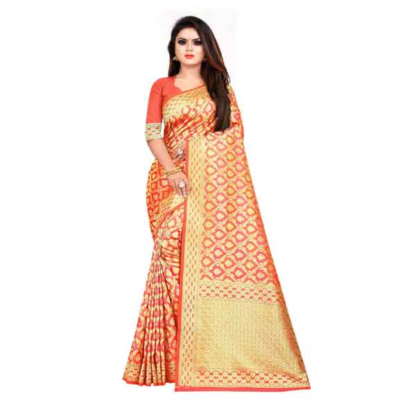 Flareon Women's Banarasi Silk Saree With Blouse Piece (101A)